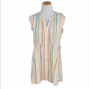 For The Republic Striped Woven Sleeveless Tunic